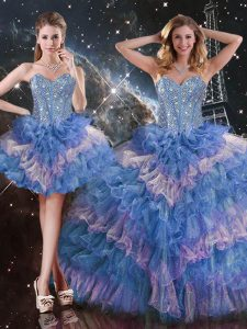 Smart Multi-color Sweet 16 Dresses Military Ball and Sweet 16 and Quinceanera with Beading and Ruffled Layers and Sequins Sweetheart Sleeveless Lace Up
