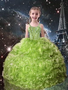 Olive Green Organza Lace Up Little Girls Pageant Dress Wholesale Sleeveless Floor Length Beading and Ruffles