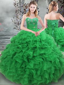 Ball Gowns Quinceanera Dress Green Sweetheart Organza Sleeveless Floor Length Lace Up