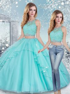 Aqua Blue Sleeveless Beading and Lace and Sashes ribbons Floor Length Sweet 16 Quinceanera Dress