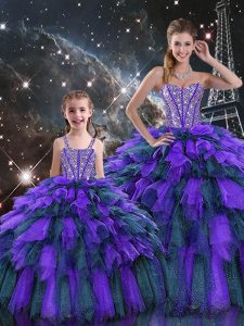 New Arrival Sweetheart Sleeveless Lace Up 15 Quinceanera Dress Multi-color Organza