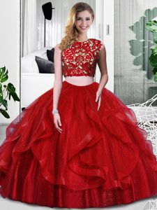 High End Scoop Sleeveless Quinceanera Gowns Floor Length Lace and Ruffles Wine Red Tulle