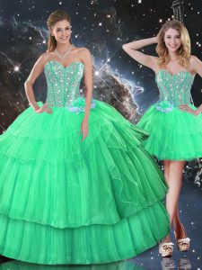 Pretty Apple Green Organza Lace Up Sweetheart Sleeveless Floor Length Vestidos de Quinceanera Ruffled Layers and Sequins