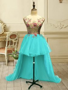 Amazing Aqua Blue Scoop Lace Up Embroidery Homecoming Dress Sleeveless