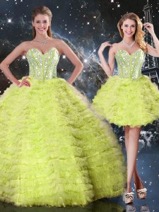 Charming Yellow Green Sleeveless Floor Length Beading and Ruffles Lace Up Quinceanera Gown