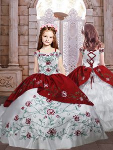 White And Red Spaghetti Straps Neckline Embroidery and Ruffled Layers Little Girls Pageant Dress Sleeveless Lace Up