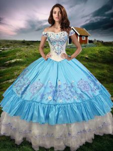 Excellent Floor Length Lace Up Sweet 16 Dress Baby Blue for Military Ball and Sweet 16 and Quinceanera with Beading and Embroidery and Ruffled Layers