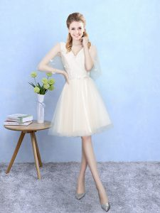 Dynamic Champagne Tulle Lace Up Quinceanera Court of Honor Dress Half Sleeves Knee Length Lace
