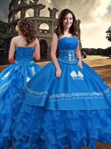 Graceful Blue Zipper Strapless Embroidery and Ruffled Layers Quinceanera Gowns Taffeta Sleeveless