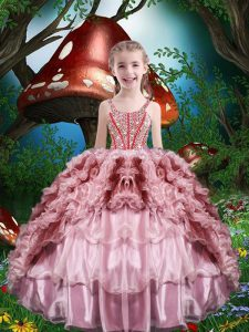 Sleeveless Organza Floor Length Lace Up Little Girl Pageant Dress in Baby Pink with Beading and Ruffles and Ruffled Layers