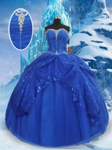Flare Floor Length Royal Blue Quinceanera Dresses Tulle Sleeveless Beading and Pick Ups
