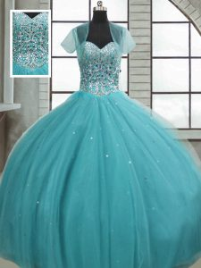 Aqua Blue Sleeveless Floor Length Beading and Sequins Lace Up Quince Ball Gowns