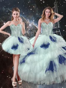 Dazzling Blue And White Sweet 16 Quinceanera Dress Military Ball and Sweet 16 and Quinceanera with Beading and Ruffled Layers and Sequins Sweetheart Sleeveless Lace Up