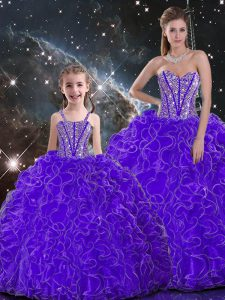 Eye-catching Purple Sleeveless Organza Lace Up Sweet 16 Dress for Military Ball and Sweet 16 and Quinceanera