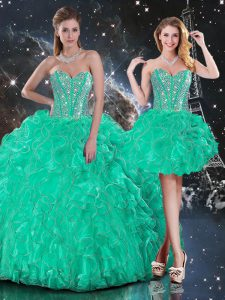 New Style Turquoise Sweet 16 Quinceanera Dress Military Ball and Sweet 16 and Quinceanera with Beading and Ruffles Sweetheart Sleeveless Lace Up