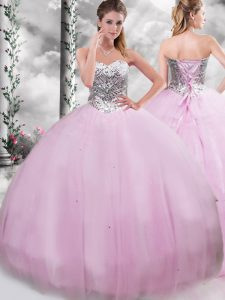 Artistic Lilac Sleeveless Tulle Brush Train Lace Up Quinceanera Gown for Military Ball and Sweet 16 and Quinceanera