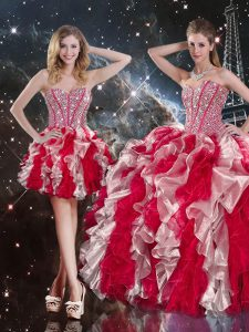 Trendy Multi-color Ball Gowns Organza Sweetheart Sleeveless Ruffles Floor Length Lace Up Quinceanera Gowns