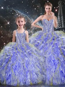 Fashionable Lavender Sleeveless Beading and Ruffles Floor Length Sweet 16 Dress
