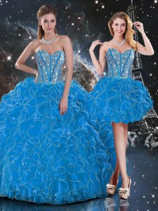 High Quality Organza Sleeveless Floor Length Quinceanera Gown and Beading and Ruffles