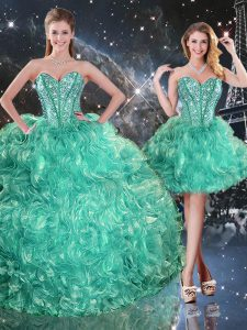 Sleeveless Floor Length Beading and Ruffles Lace Up Vestidos de Quinceanera with Turquoise