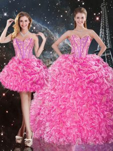Rose Pink Sleeveless Beading and Ruffles Floor Length 15 Quinceanera Dress