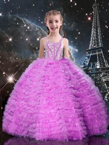Fashionable Lilac Sleeveless Tulle Lace Up Child Pageant Dress for Quinceanera and Wedding Party