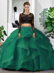 Pretty Dark Green Scoop Neckline Lace and Ruffles Quinceanera Dress Long Sleeves Backless