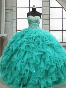 Fantastic Sleeveless Beading and Ruffles Lace Up Quinceanera Gown