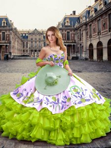 Beauteous Yellow Green Sweetheart Lace Up Embroidery and Ruffled Layers 15th Birthday Dress Sleeveless
