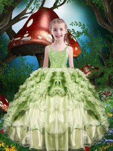 Yellow Green Short Sleeves Organza Lace Up Little Girls Pageant Gowns for Quinceanera and Wedding Party