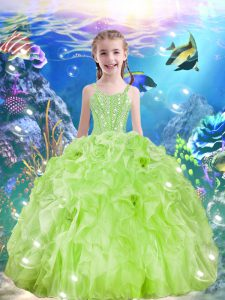 Best Straps Sleeveless Organza Little Girl Pageant Dress Beading and Ruffles Lace Up