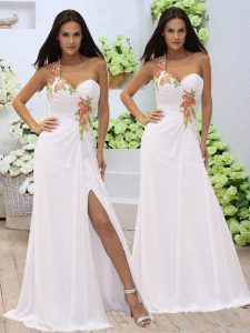 Fashionable Elastic Woven Satin Sleeveless Floor Length Prom Dress and Appliques and Ruching