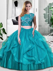 Scoop Sleeveless Tulle Quinceanera Gowns Lace and Embroidery and Ruffles Zipper