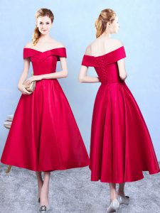 Vintage Wine Red Sleeveless Tea Length Appliques Lace Up Wedding Guest Dresses