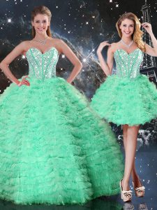 Traditional Apple Green Lace Up 15 Quinceanera Dress Beading and Ruffled Layers Sleeveless Floor Length