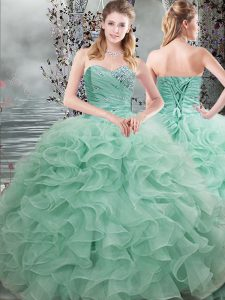 Deluxe Apple Green Ball Gowns Sweetheart Sleeveless Organza Floor Length Lace Up Beading and Ruffles Quinceanera Gowns