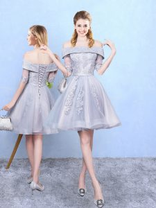 Super Grey Tulle Lace Up Off The Shoulder Half Sleeves Knee Length Bridesmaids Dress Appliques