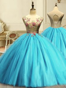 Low Price Sleeveless Tulle Floor Length Lace Up Quinceanera Gown in Aqua Blue with Appliques and Sequins