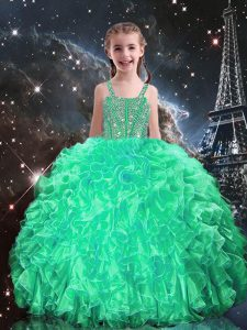 Dazzling Apple Green Ball Gowns Spaghetti Straps Sleeveless Organza Floor Length Lace Up Beading and Ruffles Girls Pageant Dresses
