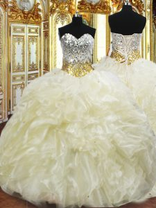 Sleeveless Floor Length Beading and Ruffles Lace Up Quinceanera Dress with Light Yellow