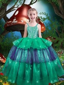 Trendy Green Ball Gowns Straps Sleeveless Organza Floor Length Lace Up Beading and Ruffled Layers Kids Formal Wear