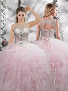 Edgy Floor Length Ball Gowns Sleeveless Baby Pink 15 Quinceanera Dress Lace Up