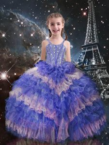 Wonderful Lilac Lace Up Straps Beading and Ruffled Layers Kids Pageant Dress Organza Sleeveless