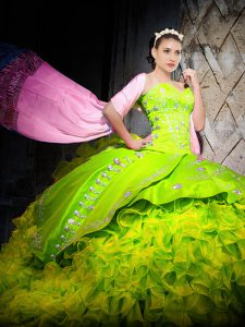 Graceful Yellow Green Sleeveless Embroidery and Ruffles Lace Up Sweet 16 Dresses
