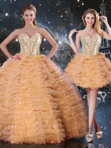 Ideal Orange Organza Lace Up Quinceanera Gowns Sleeveless Floor Length Beading and Ruffled Layers
