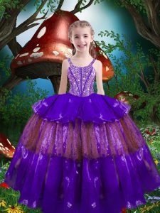 Custom Designed Sleeveless Organza Floor Length Lace Up Kids Pageant Dress in Purple with Beading and Ruffled Layers
