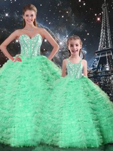 Ball Gowns Quinceanera Dress Turquoise Sweetheart Tulle Sleeveless Floor Length Lace Up