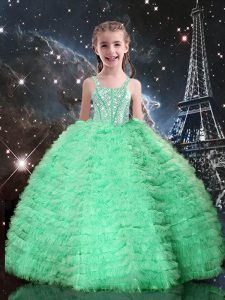 Wonderful Floor Length Lace Up Pageant Gowns For Girls Apple Green for Quinceanera and Wedding Party with Beading and Ruffled Layers