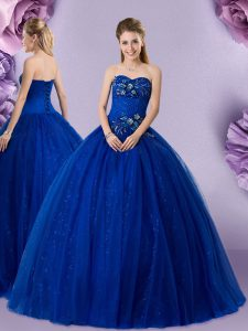 Royal Blue Sleeveless Beading and Appliques Floor Length Vestidos de Quinceanera