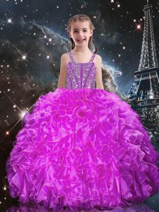 Fashion Fuchsia Sleeveless Floor Length Beading and Ruffles Lace Up Little Girls Pageant Dress Wholesale